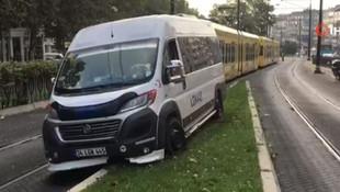 İstanbul'da tramvay yolunda kaza, seferler durdu!