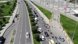 İstanbul'da otoyolda şaşırtan görüntü