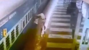 Tren istasyonunda dehşet kamerada