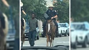 Polisin zanlıya köle muamelesine tepki yağdı
