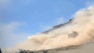 Denizli'deki depremde heyelan anı kamerada