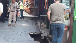 Orataköy'de kumpircilerin altından geçen kanal çöktü