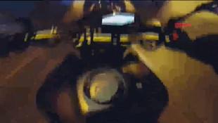 Tek teker magandasının kaza anı kask kamerasında!