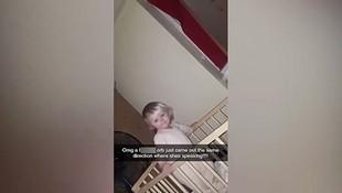 Hayaletlerle konuşan bebeğini videoya çekti