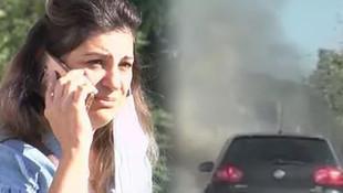 Aracı alev alev yandı, gözyaşlarını tutamadı