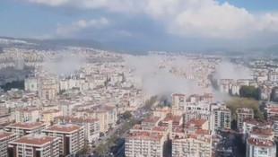 Depremin merkez üssü İzmir'den korkutan görüntüler