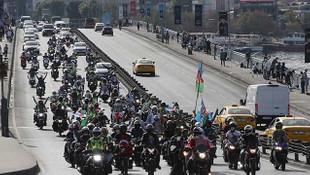 İstanbul'da motosikletlilerden Azerbaycan'a destek