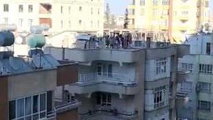 Apartman çatısında şoke eden görüntü! Halay çektiler!