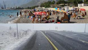 Bir tarafta kış, bir tarafta yaz! Mevsimin ilk karı yağdı
