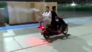 İstanbul'da skandal görüntüler! Havai fişekli motosikletli magandalar!