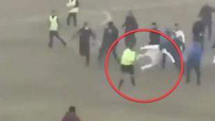 Futbol maçında hakeme linç girişimi! Uçan tekme attı