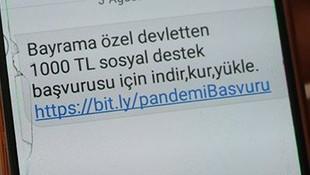 Dolandırıcılar şimdi de ''Devletten 1.000 TL destek'' deyip dolandırdı!