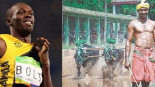 Usain Bolt'un 9.58'lik rekorunu tarlada kırdı!