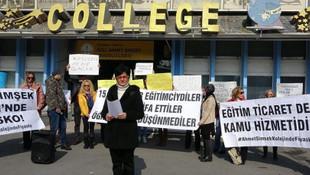 Özel okulda maaş krizi ! Veliler eylem yaptı