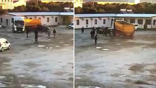 İzmir'de akılalmaz kavga ! İş arkadaşlarını TIR'la kovaladı