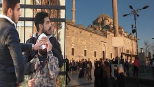 Suriyeliler cami avlusunda birbirine girdi