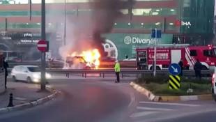 E-5'te araç yangını ! Trafik durma noktasına geldi