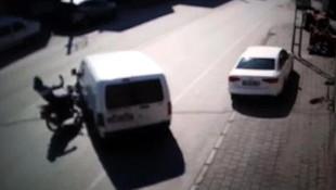 Motosiklet sürücüsünün öldüğü kaza kamerada !