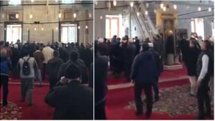 Fatih Camii'nde toplu namaz tartışması kamerada!