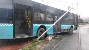 İstanbul'da otobüs tramvay yoluna girdi