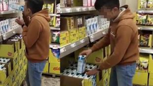 Marketteki sütleri içip, videosunu paylaşan çocuğun cezası belli oldu