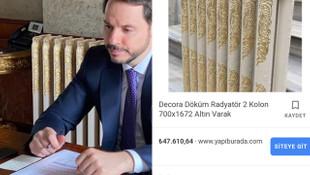 Berat Albayrak'ın altın varaklı kalorifer peteği tartışma yarattı
