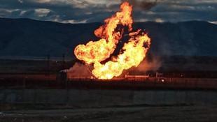 Sınırda korkutan patlama! Alevler metrelerce yükseldi
