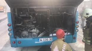 Özel Halk Otobüsü'nde korkutan yangın