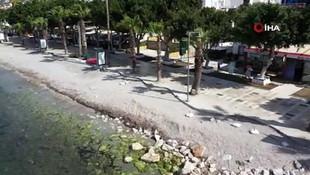 Bodrum'un boş sahilleri, sokaklar havadan görüntülendi