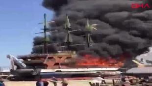 Antalya'da gezi teknesinde yangın