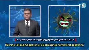 Televizyon ekranlarında ilginç anlar! Koronavirüsle röportaj yaptı