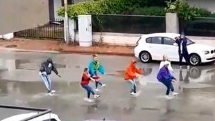 Antalya'da sokağa çıkma yasağını dans ederek ihlal ettiler!