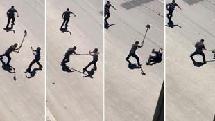 Polise şoke eden saldırı! Başına kürekle vurdu