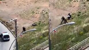 2 kardeşin polislere saldırdığı anlar kamerada