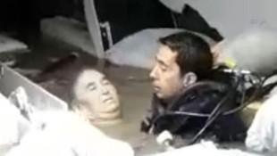 Su basan hastanenin bodrum katında mahsur kalan kadın böyle kurtarıldı