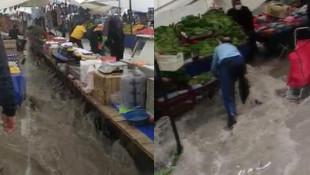 İstanbul'da sağanak; Pazar yerini sel vurdu!