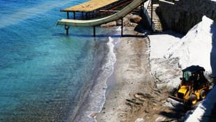 Bodrum sahilinde mermer tozu skandalı! Suçüstü yakalandılar