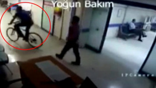 Hastanede skandal görüntü! Yoğun bakımda bisiklet sürdü