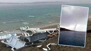 Marmaris'i hortum vurdu! Plaj savaş alanına döndü