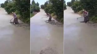 Yola dökülen betonu tahrip eden yaşlı kadına soruşturma