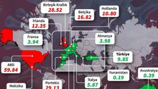 İngiltere'de, ülkelerin korona risk oranlarını gösteren harita paylaşıldı