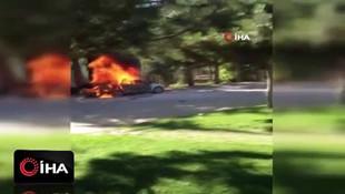 Otomobildeki piknik tüpü bomba gibi patladı