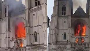 Fransa'da tarihi Nantes Katedrali'nde yangın