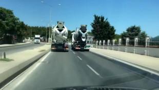 İstanbul'da beton mikserlerinin tehlikeli yarışı kamerada
