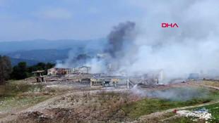 Sakarya'da patlamanın meydana geldiği fabrika havadan görüntülendi