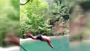 Yapay havuza atlayan genç ölümden döndü! O anlar kamerada