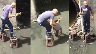 Kanalizasyonda mahsur kalan kediyi böyle kurtardı