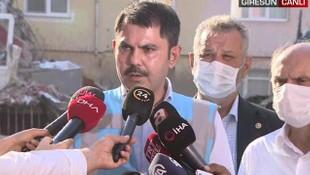 Bakan Kurum: Hasarlı binaların yıkımına başlandı