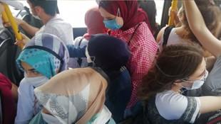 Halk otobüsünde skandal görüntü! Nefes alacak yer kalmadı