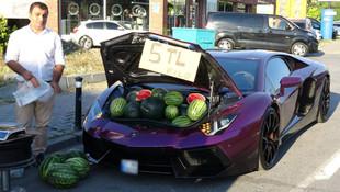İstanbul'da milyonluk lüks otomobilde 5 liraya karpuz sattı